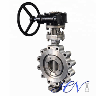 Fully Lugged Stainless Steel Gear Type Triple Eccentric Butterfly Valve
